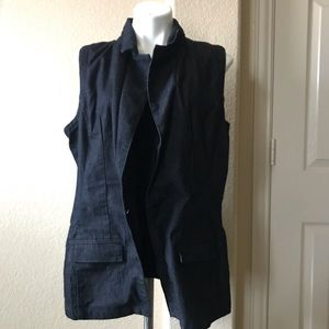 Dark blue denim Ashley Stewart vest NWT 18/20